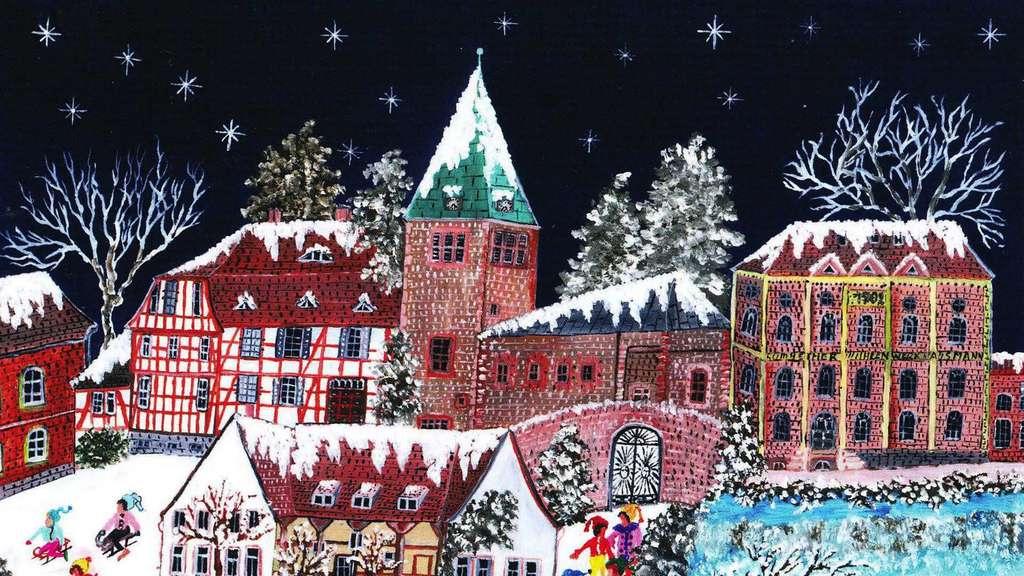 Weihnachtskarten Motive.Borken Gombeth Weihnachtskarte Naive Malerei Angelika Alles