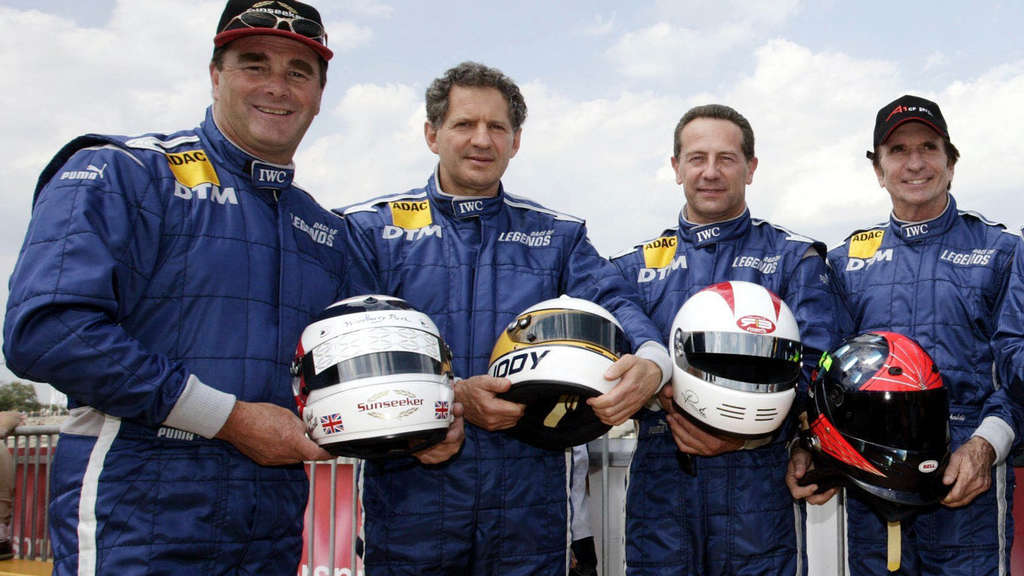 Die Rennsportlegenden (v. l.) Nigel Mansell, Jody Scheckter, Johnny Cecotto und Emerson Fittipaldi.