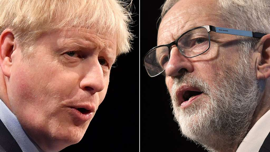 Boris Johnson greift Jeremy Corbyn an.